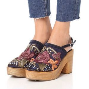 Free People Blue Cosmic Storm Mule Embroider Clog